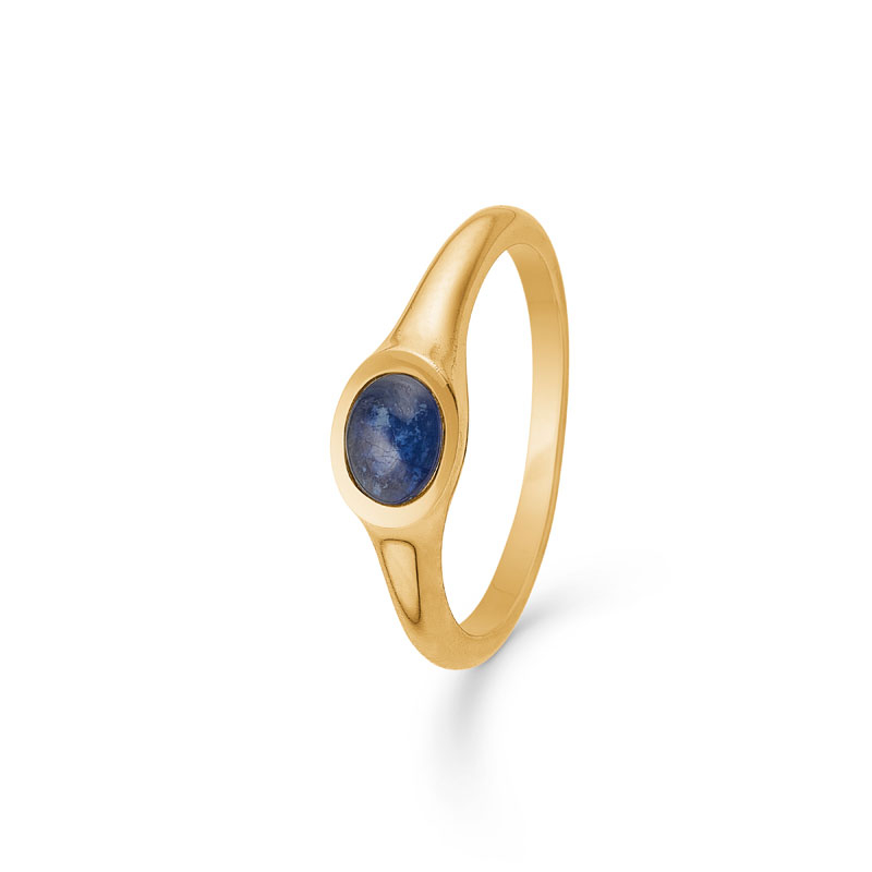 Mads Z Cabochon ring i 14 kt. guld med blå safir