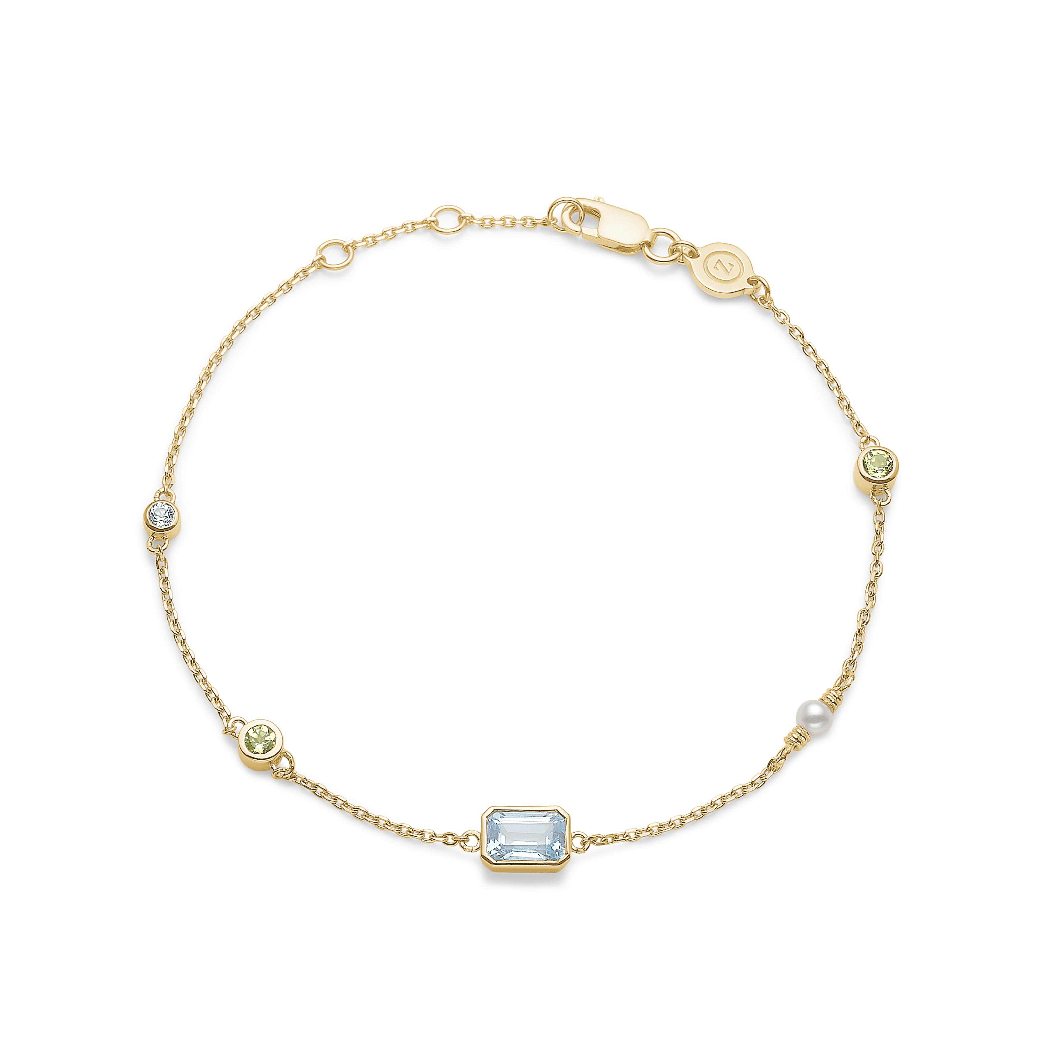 Image of   Mads Z Aurora 14 kt. guld armbånd med Topas, Peridot og perle