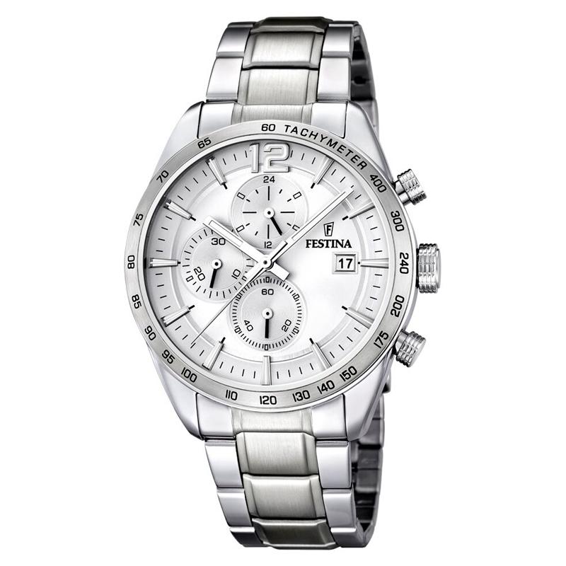 Image of   Festina chronograph armbåndsur i stål med hvid skive og stål lænke