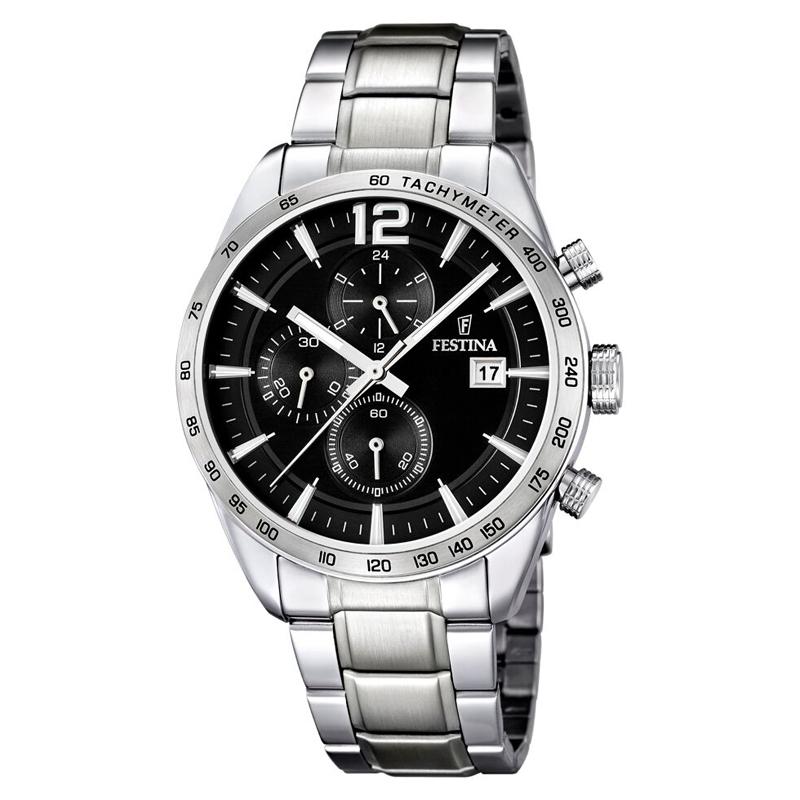 Image of   Festina chronograph armbåndsur i stål med sort skive og stål lænke