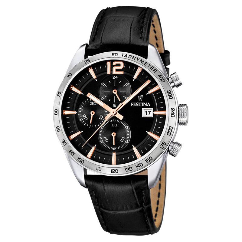 Image of   Festina chronograph armbåndsur i stål med sort skive og sort rem