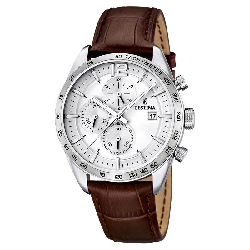 Image of   Festina chronograph armbåndsur i stål med lys skive og brun rem