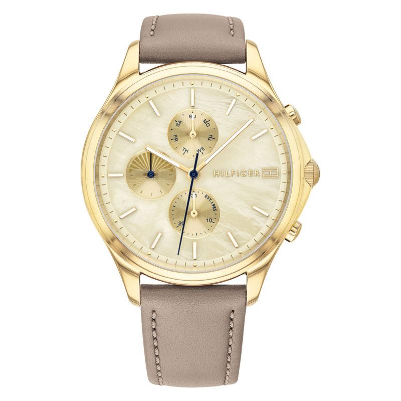 Tommy Hilfiger Whitney armbåndsur med perlemorskive i guldfarvet stål med lænke thumbnail