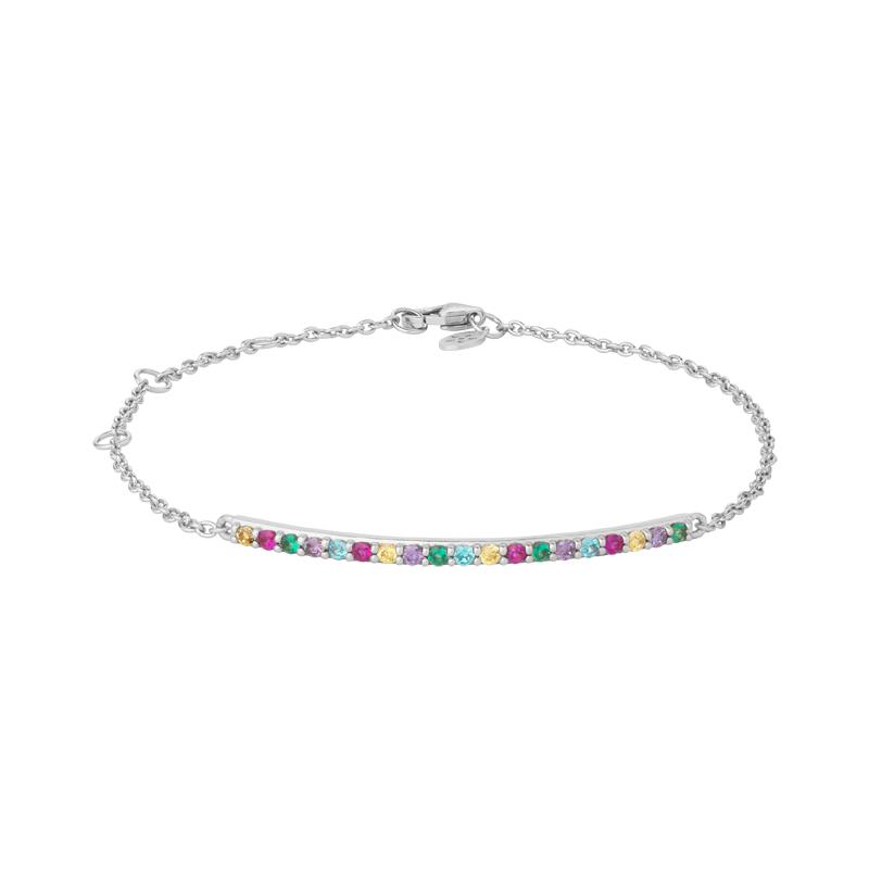 Image of   Bybiehl Rainbow Sparkle armbånd i sølv med farvede sten
