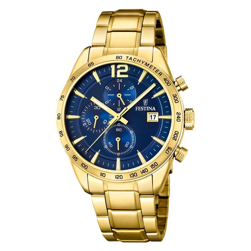 Image of   Festina Chronograph armbåndsur i guldfarvet stål med lænke og blå skive