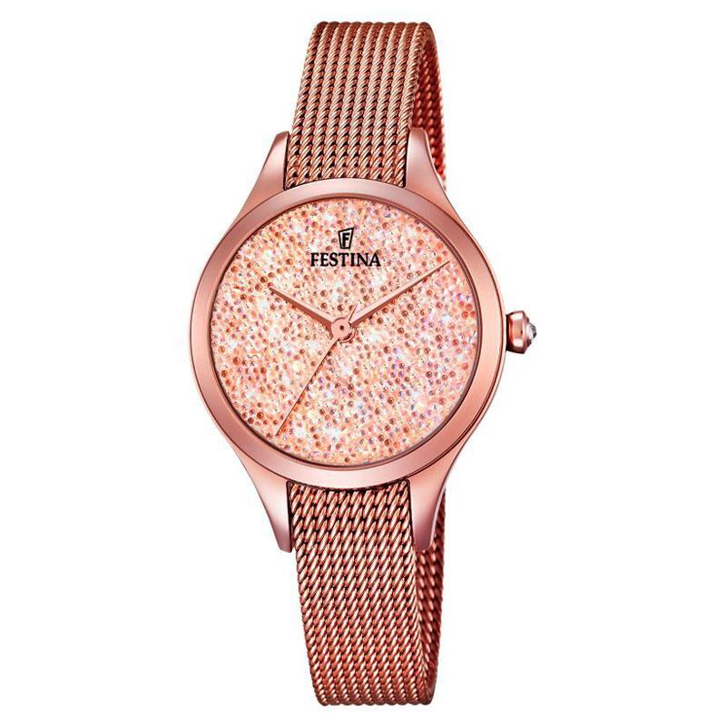 Image of   FESTINA Swarovski armbåndsur i rosaforgyldt med rosa skive og mesh lænke