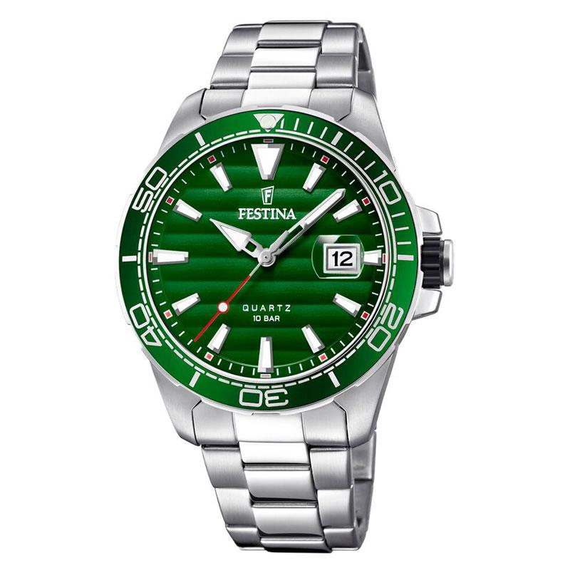 Image of   Festina armbåndsur i stål med lænke og grøn skive