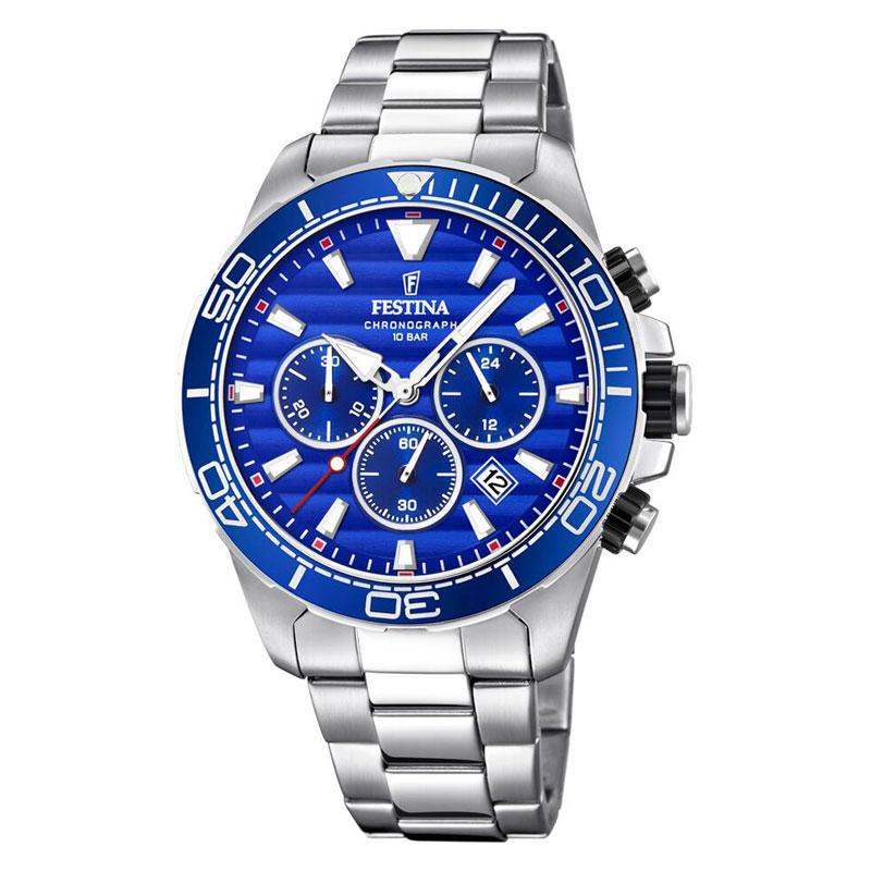 Image of   Festina chronograph armbåndsur i stål med lænke og blå skive