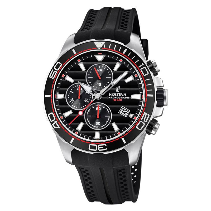 Image of   Festina chronograph armbåndsur i stål med sort skive og sort gummi rem