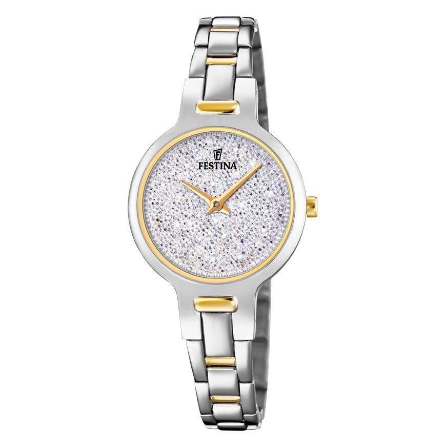 Image of   FESTINA Swarovski armbåndsur i stål med hvid krystal skive og bicolour lænke
