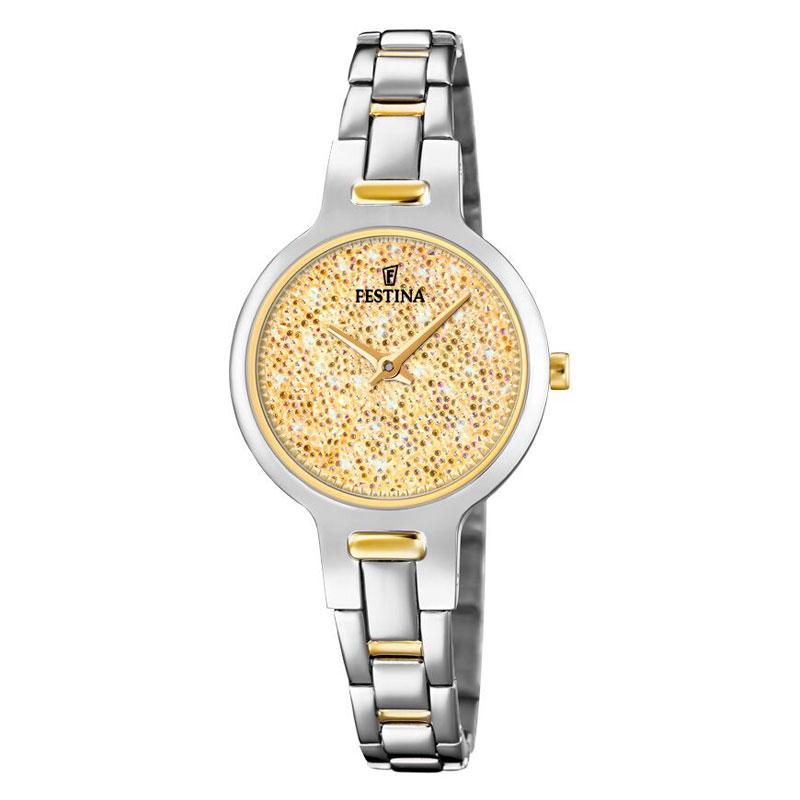 Image of   FESTINA Swarovski armbåndsur i stål med gylden krystal skive og bicolour lænke