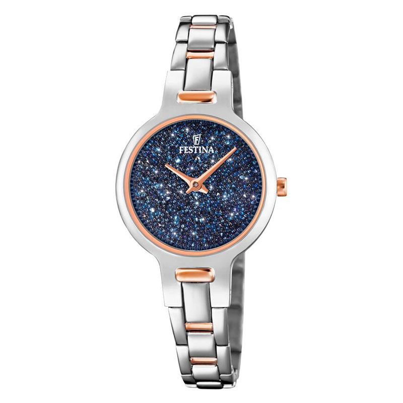 Image of   FESTINA Swarovski armbåndsur i stål med blå krystal skive og bicolour lænke