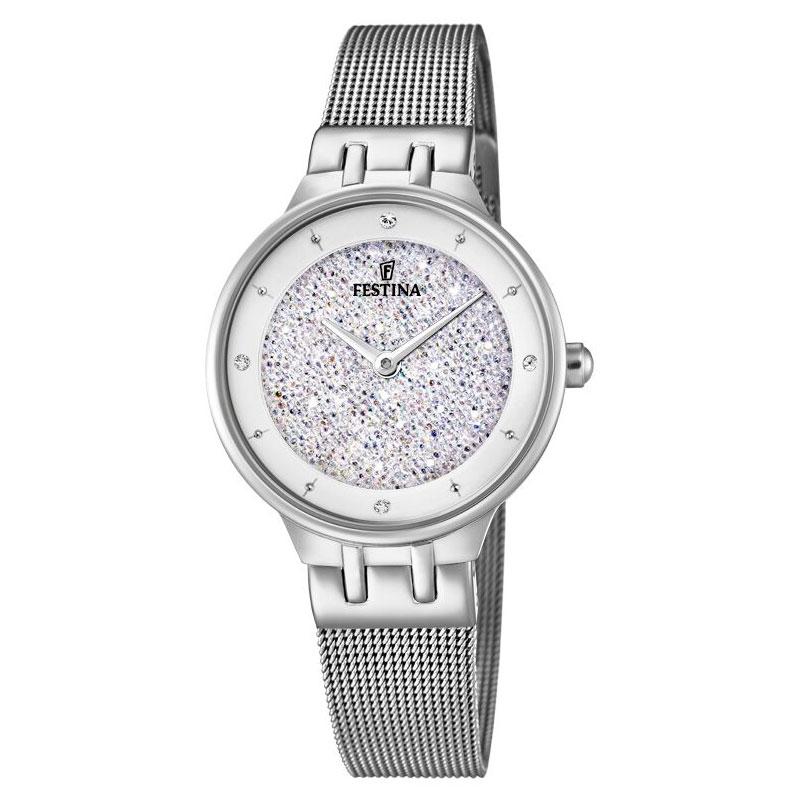 Image of   FESTINA Swarovski armbåndsur i stål med hvid skive og meshlænke