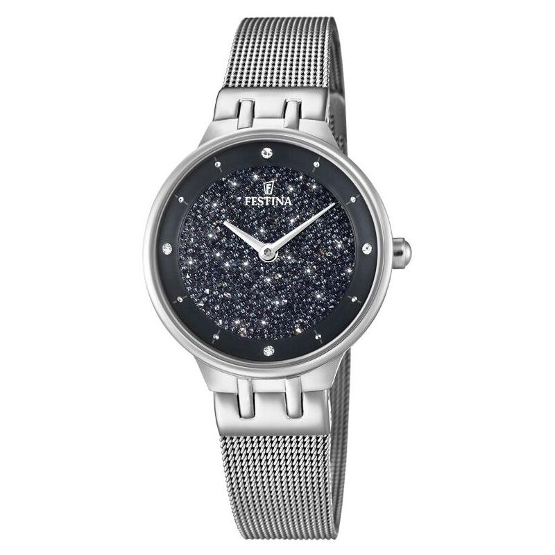 Image of   FESTINA Swarovski armbåndsur i stål med sort skive og meshlænke