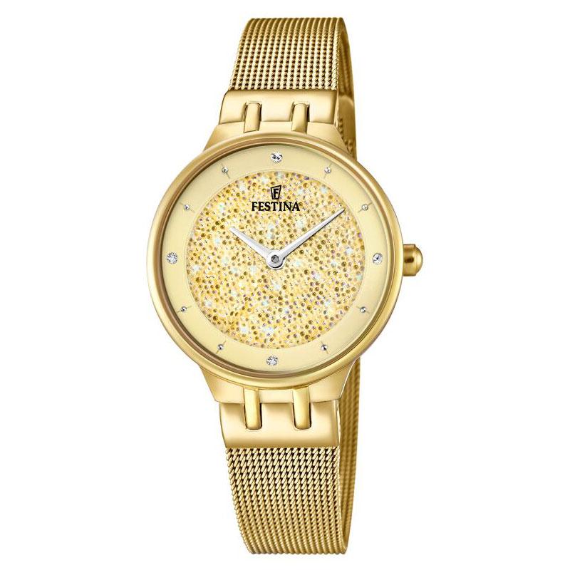 Image of   FESTINA Swarovski armbåndsur i guldfarvet stål med gylden skive og meshlænke