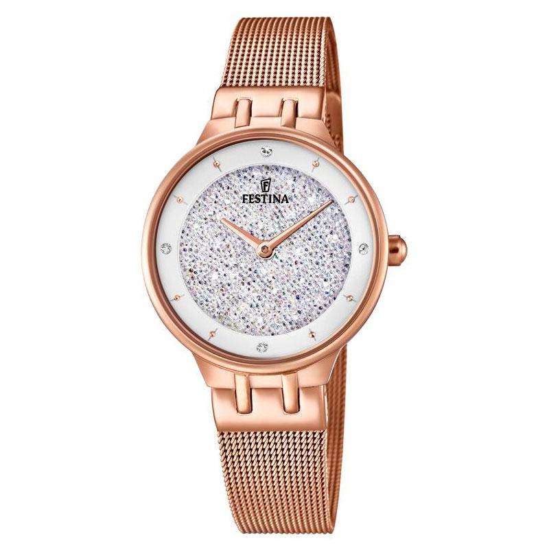 Image of   FESTINA Swarovski armbåndsur i rosaguldfarvet stål med hvid skive og meshlænke