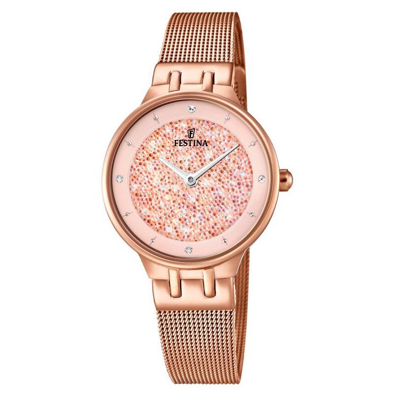 Image of   FESTINA Swarovski armbåndsur i rosaguldfarvet stål med rosa skive og meshlænke