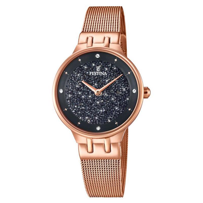 Image of   FESTINA Swarovski armbåndsur i rosaguldfarvet stål med sort skive og meshlænke
