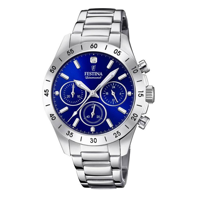 Image of   FESTINA Diamond chronograph armbåndsur i stål med blå skive