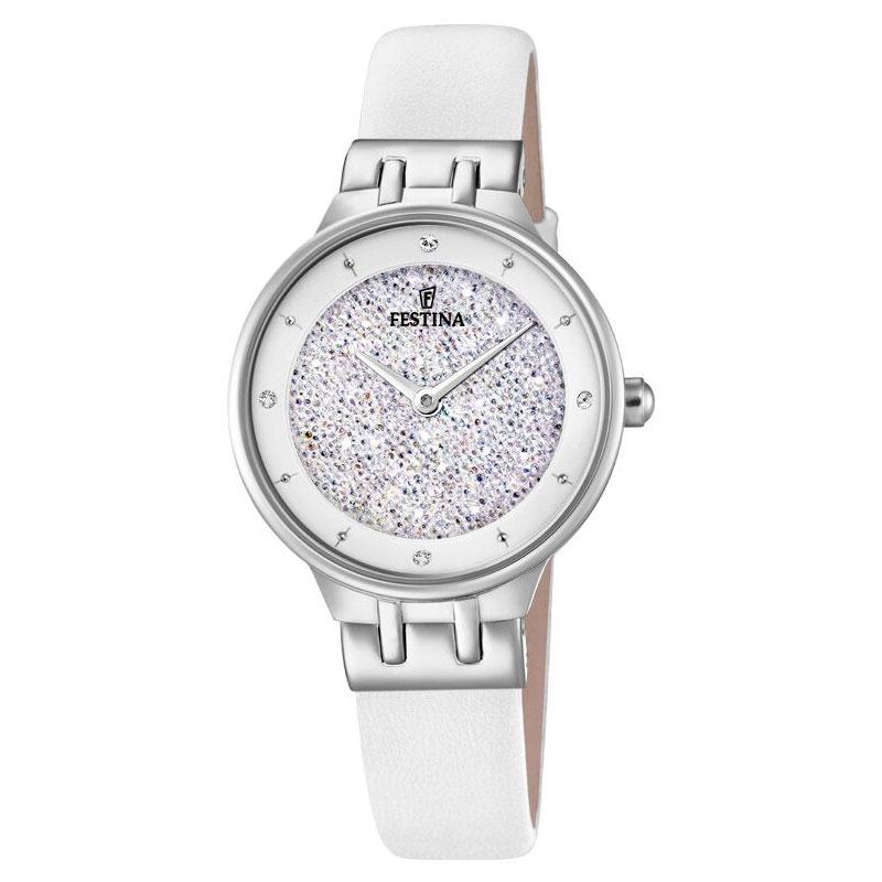 Image of   FESTINA Swarovski armbåndsur i stål med hvid krystal skive og hvid læderrem