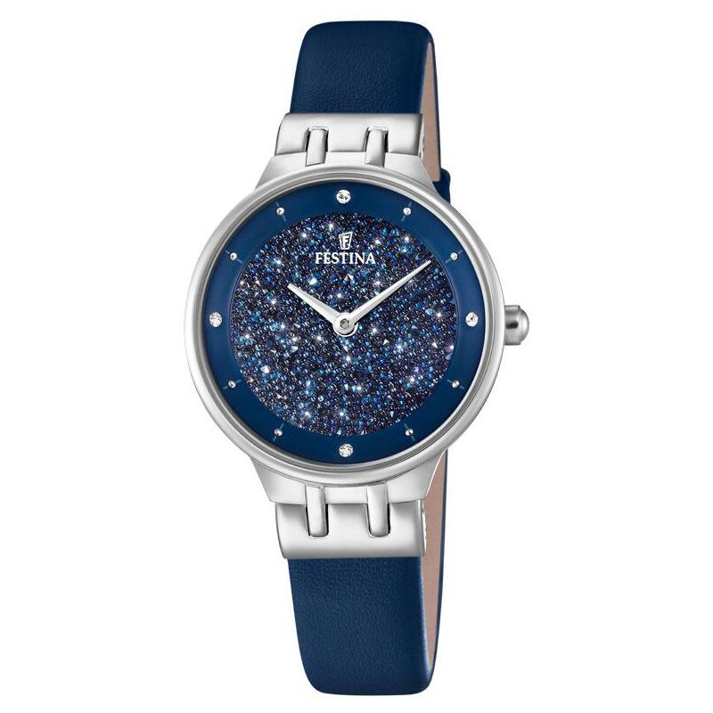 Image of   FESTINA Swarovski armbåndsur i stål med blå krystal skive og blå læderrem