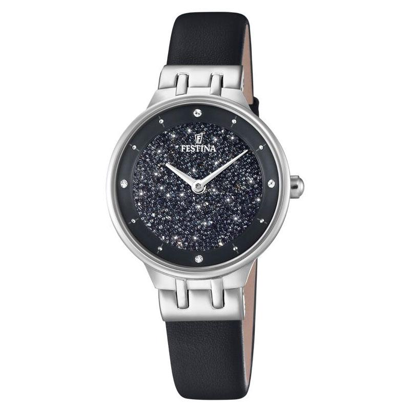 Image of   FESTINA Swarovski armbåndsur i stål med sort krystal skive og sort læderrem