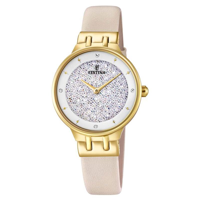 Image of   FESTINA Swarovski armbåndsur i guldfarvet stål med hvid krystal skive og cremehvid læderrem