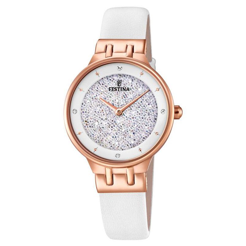 Image of   FESTINA Swarovski armbåndsur i rosaguldfarvet stål med hvid krystal skive og hvid læderrem