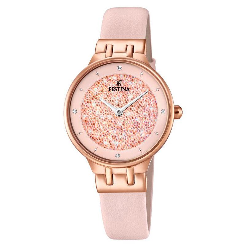 Image of   FESTINA Swarovski armbåndsur i rosaguldfarvet stål med rosa krystal skive og rosa læderrem