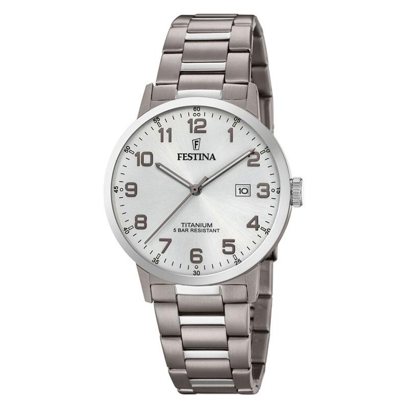 Image of   Festina titanium herre armbåndsur med lænke og grå skive med arabertal