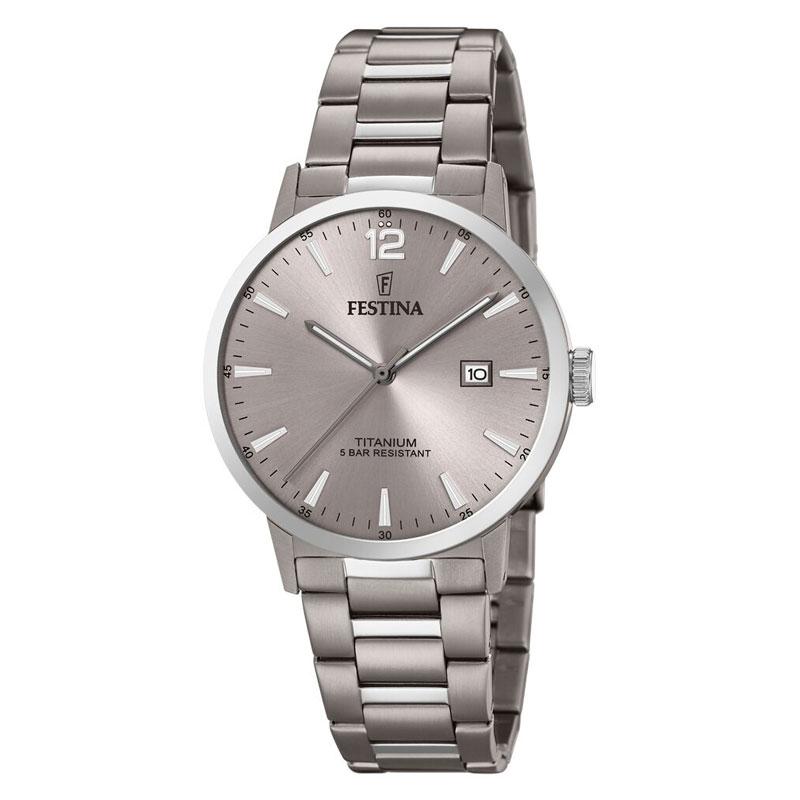 Image of   Festina titanium herre armbåndsur med lænke og grå skive