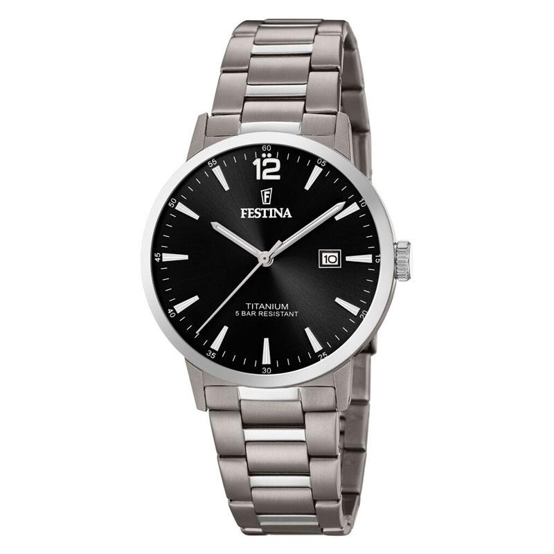 Image of   Festina titanium herre armbåndsur med lænke og sort skive