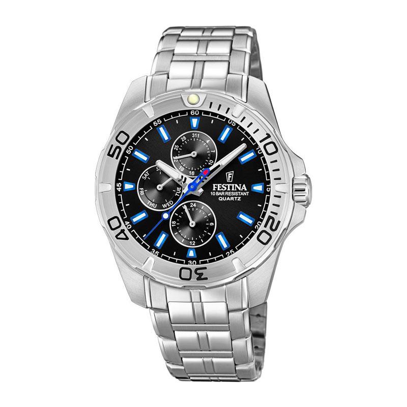 Image of   Festina chronograph armbåndsur i stål med sort/blå skive og lænke