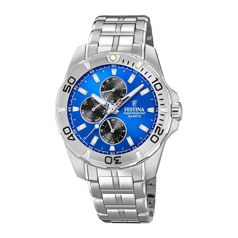 Image of   Festina chronograph armbåndsur i stål med blå skive og lænke