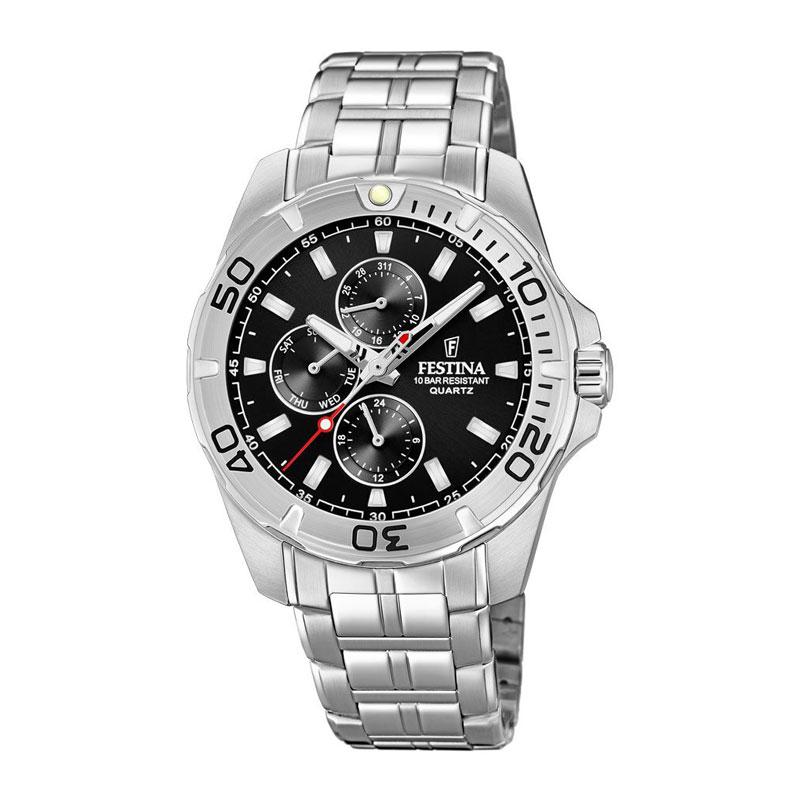 Image of   Festina chronograph armbåndsur i stål med sort skive og lænke