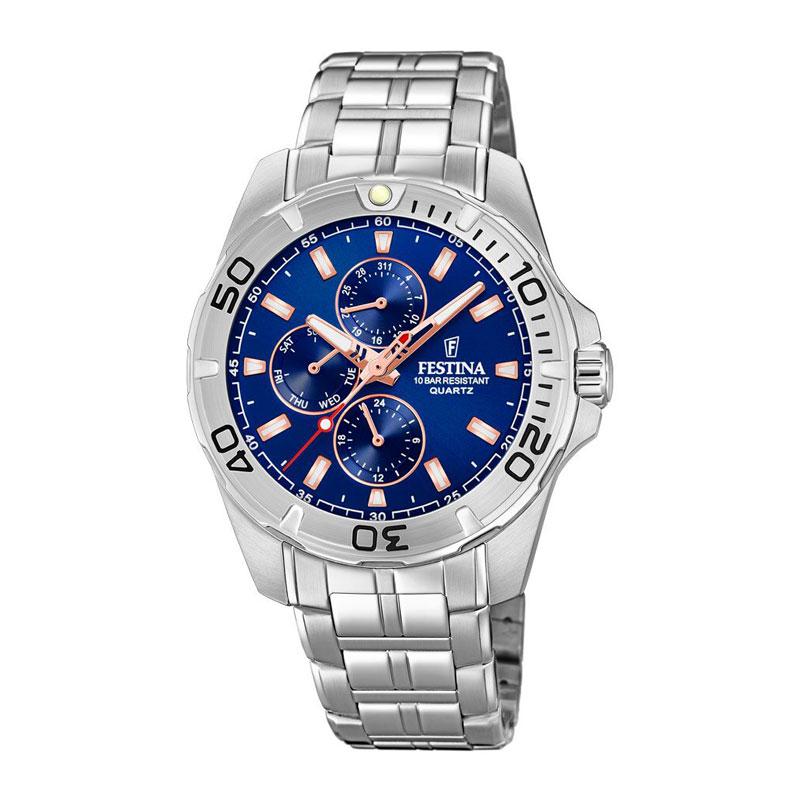 Image of   Festina chronograph armbåndsur i stål med mørkeblå/rosa skive og lænke