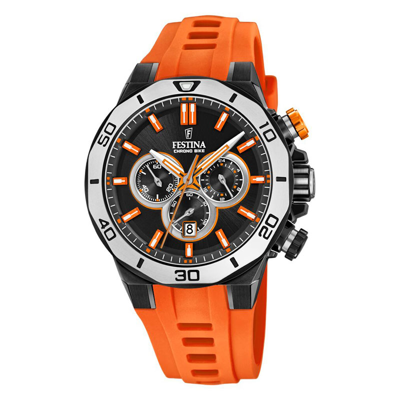 Image of   Festina Chrono bike 2019 armbåndsur i stål med sort skive og orange gummirem