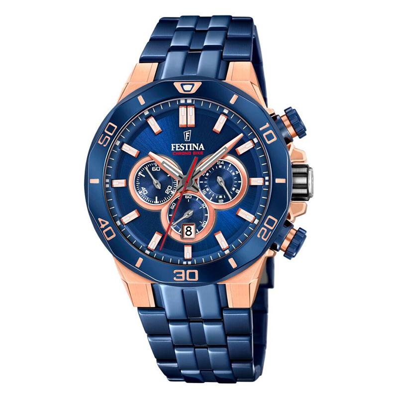 Image of   Festina 2019 special edition armbåndsur i blåt stål med kobber/blå skive og blå lænke