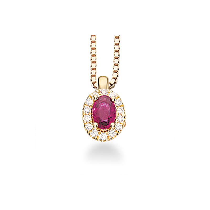 Image of   Scrouples roset vedhæng i 14 kt. rødguld med rubin og diamanter