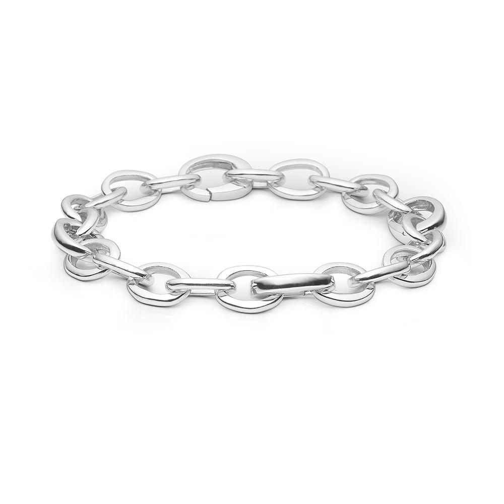 Image of   Blossom sølv armbånd rhod. blank, 19 cm