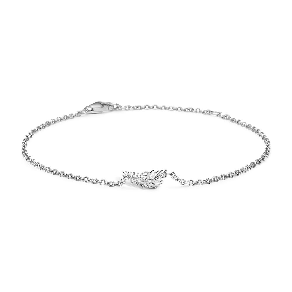 Image of   Blossom sølv armbånd rhod. fjer 17+3 cm