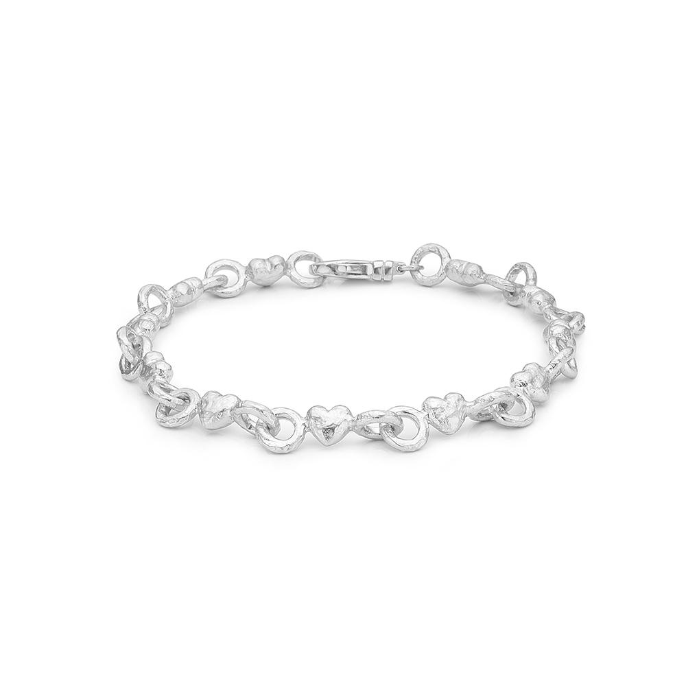 Image of   Blossom sølv armbånd rhod. hjerter mat blank 19 cm