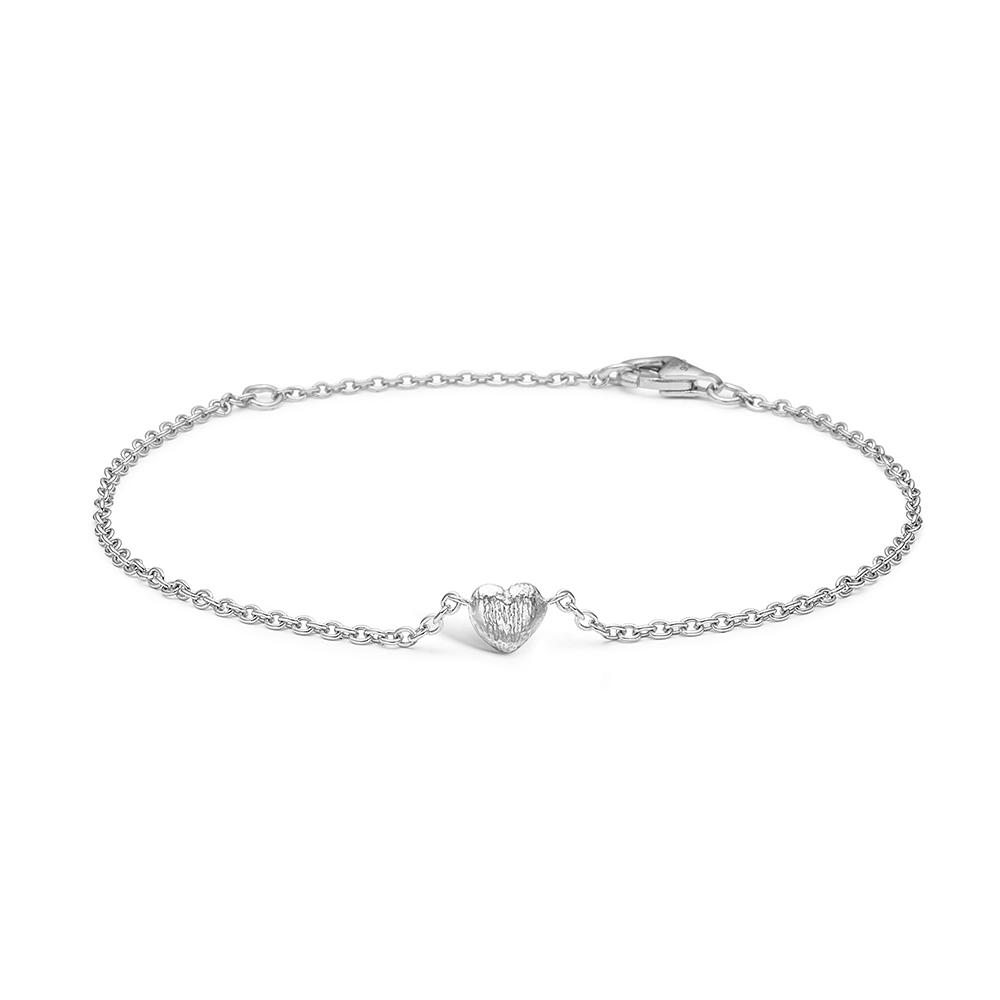 Image of   Blossom sølv armbånd rhod. hjerte mat 17+3 cm