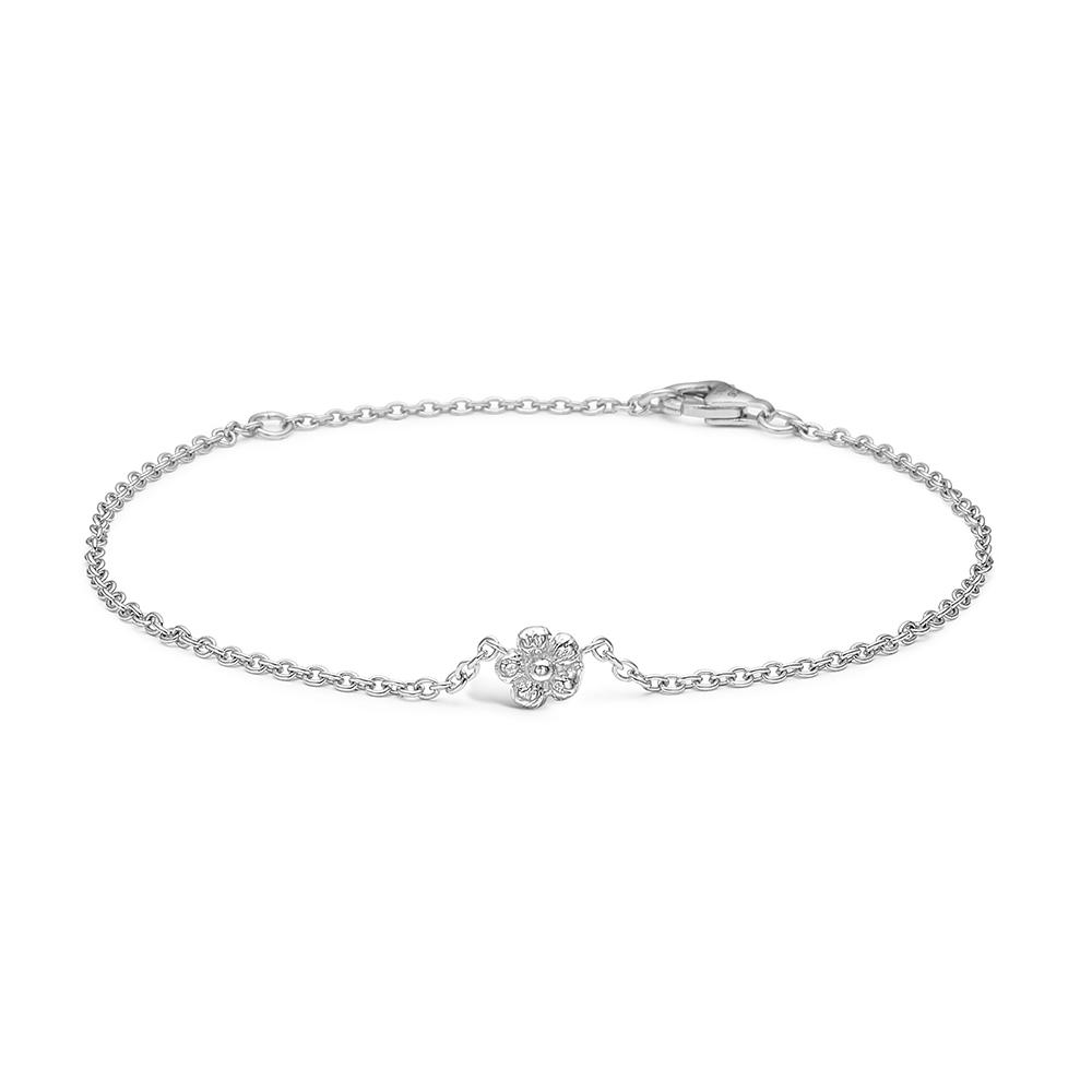 Image of   Blossom sølv armbånd i sølv med blomst 17+3 cm