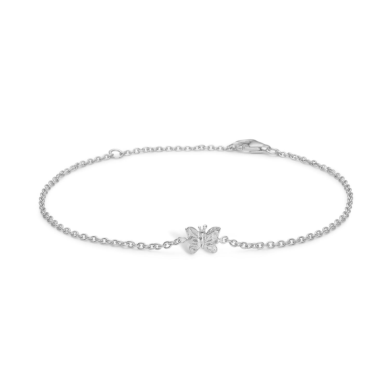 Blossom sølv armbånd rhod. sommerfugl mat 17+3 cm