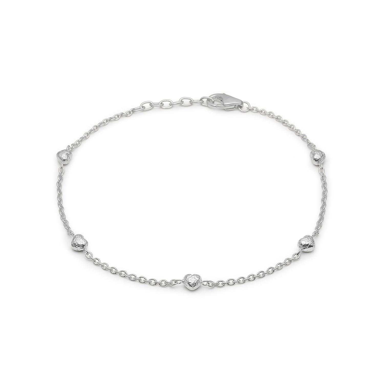 Image of   Blossom sølv rhodeneret armbånd med 5 hjerter 17+3 cm