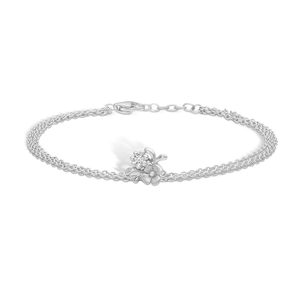 Blossom sølv armbånd rhod. CZ 19 cm