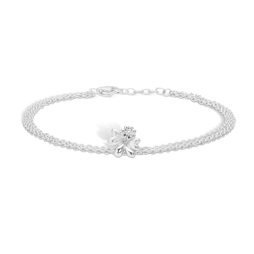 Blossom sølv armbånd rhod. med cz, 19 cm