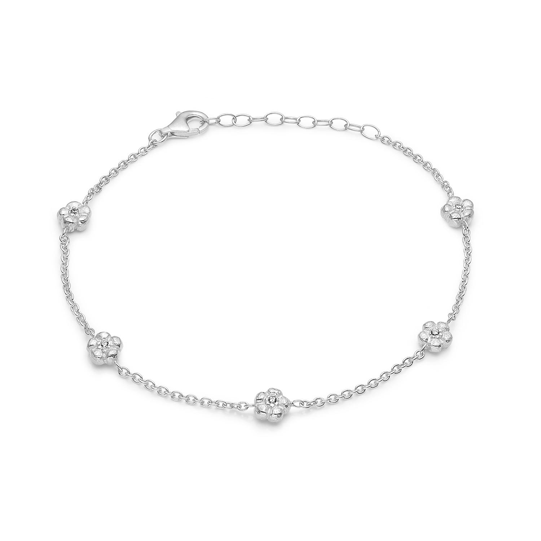 Blossom sølv rhodeneret armbånd med 5 blomster 17+3 cm