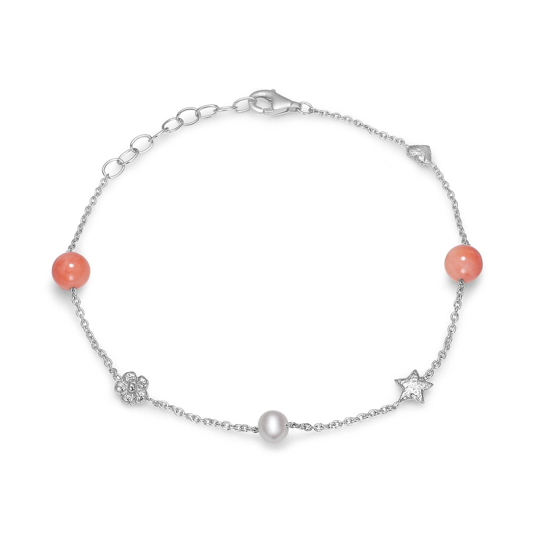 Blossom sølv armbånd med hvid perle og koraler